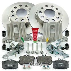 2x Bremssattel + Bremsbeläge + Bremsscheiben hinten Audi A3 Seat Skoda VW Golf