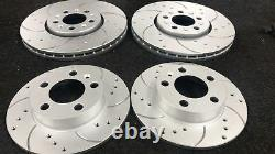 Audi A3 2.0 140 8p Drilled Grooved Brake Discs And Brembo Brake Pads Front Rear