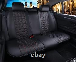Car Seat Covers and Headrest Covers Kit Full Front Rear Black Pu Leather Car