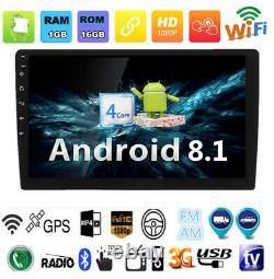 Single DIN Android 8.1 10.1'' Car Stereo Radio MP5 Player GPS Wifi 3G 4G BT DAB