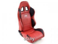 Sport Bucket Seats 2x Houston Faux Leather Red Black Interior VW Audi Seat Skoda