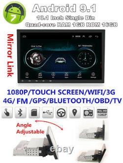 1din Réglable Android 9.1 10.1 1080p Quad-core 1gb+16gb Voiture Stereo Radio Gps