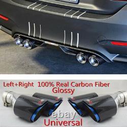 63mm 89mm Carbon Fibre Voiture Suv Double Tuyau D'échappement Tuyau Silencieux Conseil Chrome Bleu 2x