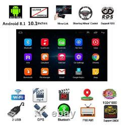 Android 8.1 Bt Voiture Stereo Radio 2 Din 10.1 Lecteur Mp5 Gps Wifi Dab Mirror Link