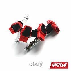 Ecs Oem Red Coil Pack Set 1.8t 150/180/210/225 A3/tt/golf 4/leon/octavia Etc