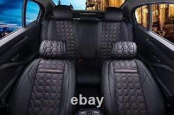 Housses De Siège De Voiture Et Housses D'appui-tête Full Front Arrière Black Pu Leather Car