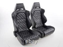 Paire Front Car Sports Seats Las Vegas Faux Cuir Noir Vw Audi Seat Skoda